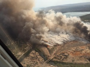 Aerial view of Riverton City dump on fire. Photo credit: William Mahfood (@williamswisynco)